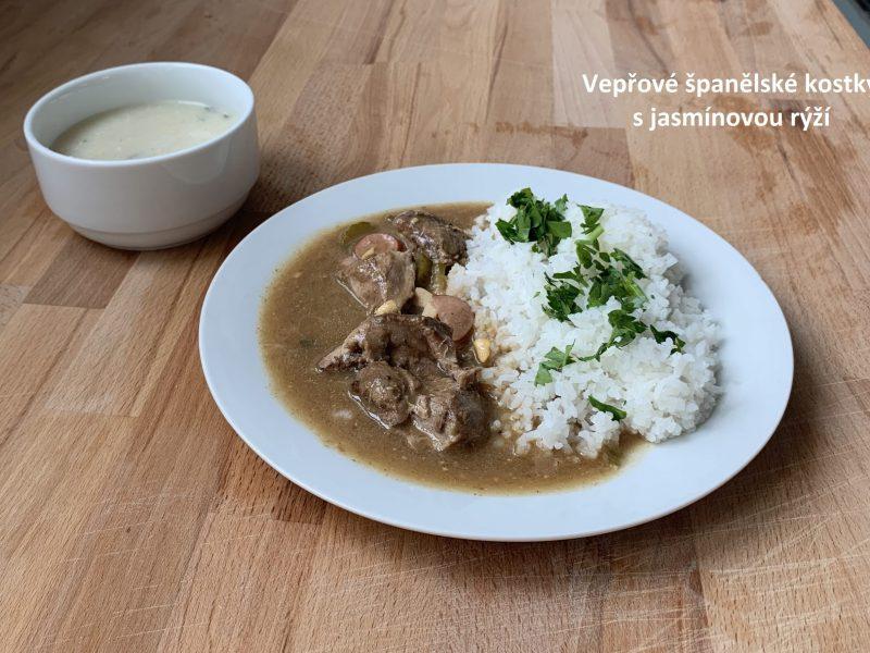 Vepřové kostky s jasmínovou rýží
